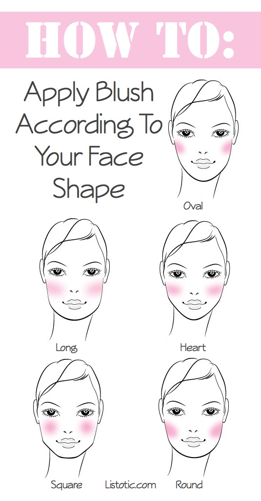 How to apply blush according to your face shape. -- Makeup tips and tricks for beginners, teens and even experts! These beauty hacks and step-by-step tutorials are perfect for women of any age, older or younger. Easy ideas and life hacks every girl should know. :) Listotic.com