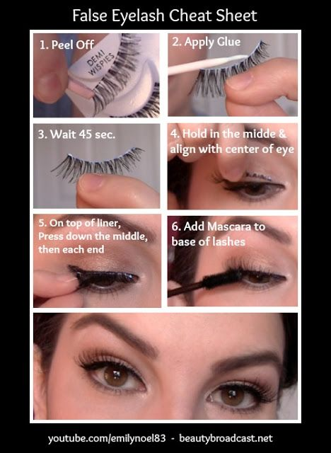 False Eyelash Cheat Sheet -- Makeup tips and tricks for beginners, teens and even experts! These beauty hacks and step-by-step tutorials are perfect for women of any age, older or younger. Easy ideas and life hacks every girl should know. :) Listotic.com