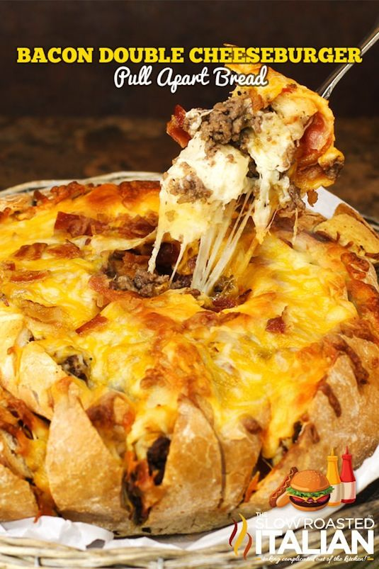 42 Mouthwatering Pull-Apart Recipes | Bacon Cheeseburger Pull-Apart Bread