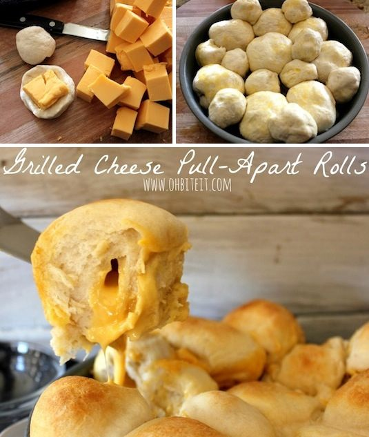 42 Mouthwatering Pull-Apart Recipes | Grilled Cheese Pull-Apart Rolls