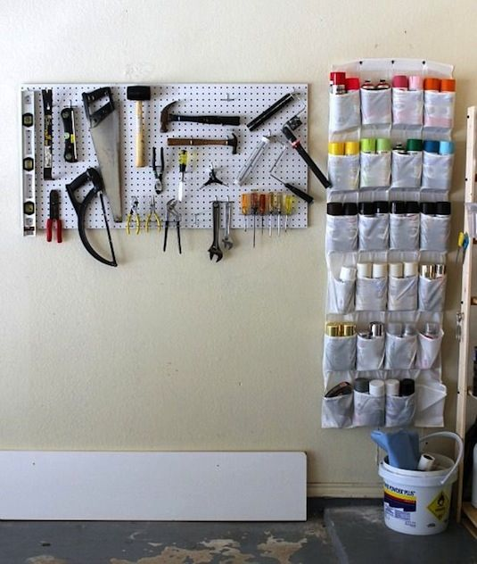 28 Brilliant Garage Organization Ideas | Use a hanging shoe rack in your  garage to keep