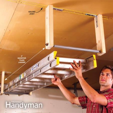 28 Brilliant Garage tips | Out-of-the-way ladder storage