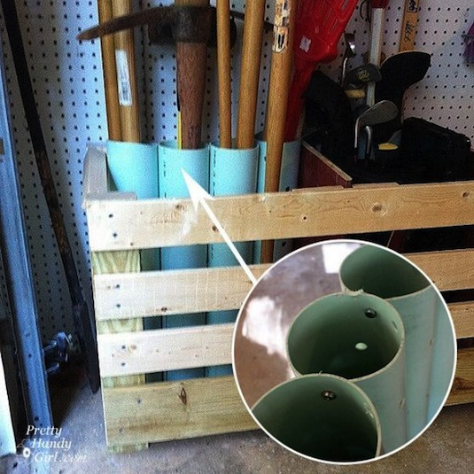 28 Garage storage tips | Upright tool storage using large PVC pipes.