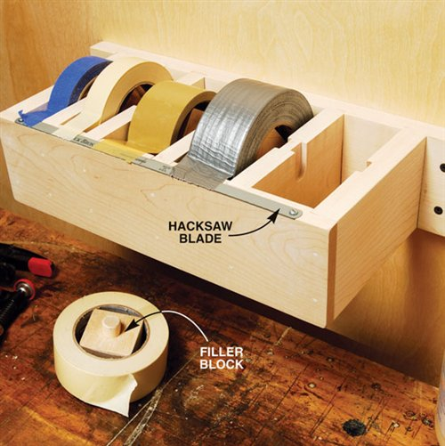 DIY Jumbo Tape Dispenser... the best way to organize tape in the garage. -- Easy DIY garage organization ideas and storage tips! A ton of cheap inspiration to get you organized. Everything from shelves to tools! Men AND women will love these tips and tricks. Listotic.com