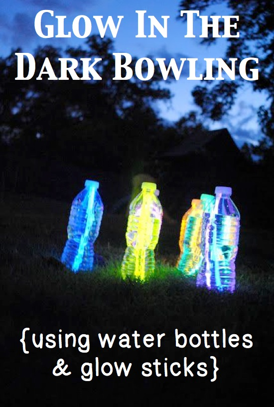 Glow in the dark bowling using glow sticks and water bottles.