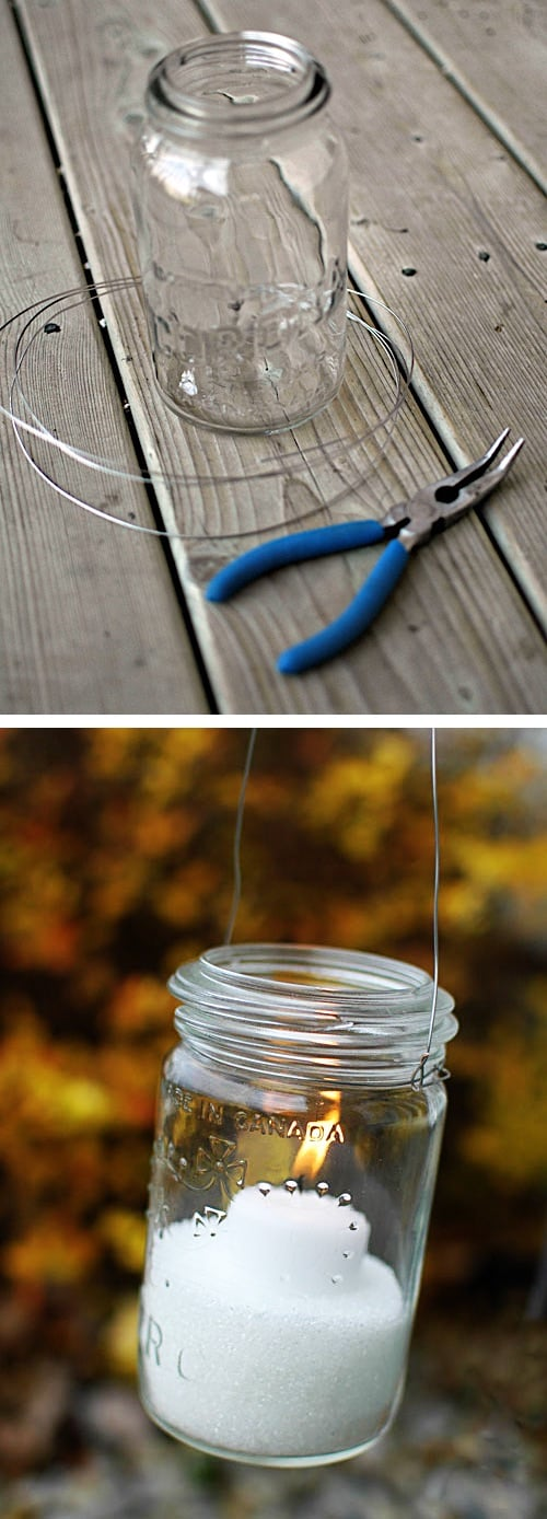 Mason jar hanging candle lanterns. -- DIY mason jar crafts and ideas for Christmas, holidays, gifts, home decor and more! Kids and teens love these projects! Listotic.com
