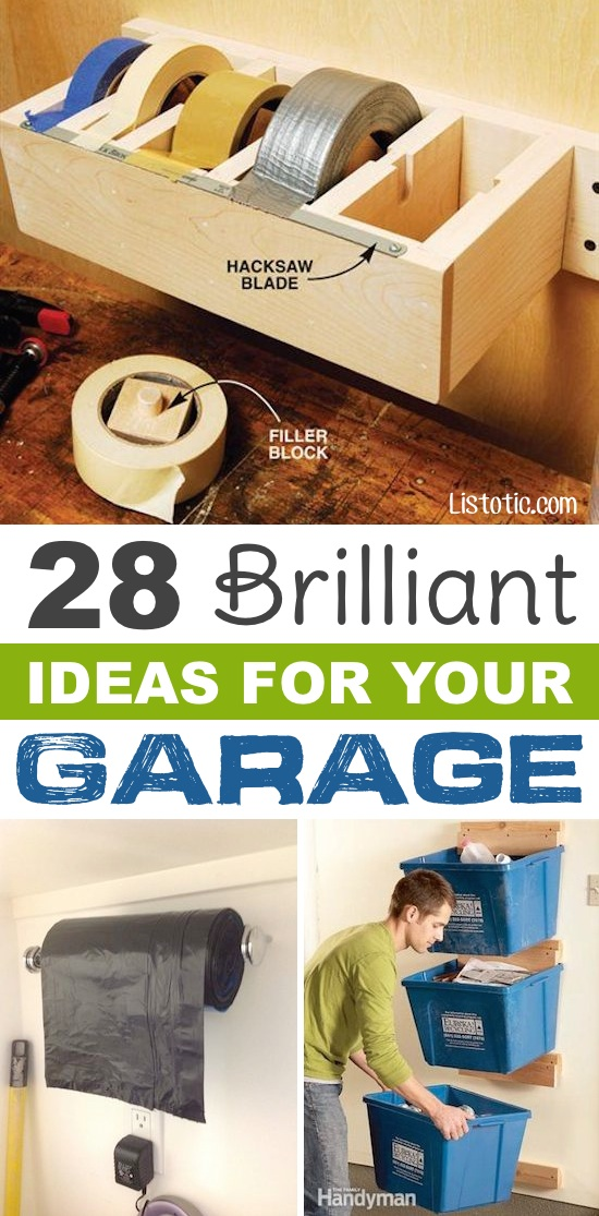 Easy DIY garage organization ideas and storage tips! A ton of cheap inspiration to get you organized. Everything from shelves to tools! Men AND women will love these tips and tricks. Listotic.com