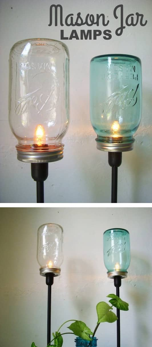 DIY Mason Jar Lamps -- DIY mason jar crafts and ideas for Christmas, holidays, gifts, home decor and more! Kids and teens love these projects! Listotic.com
