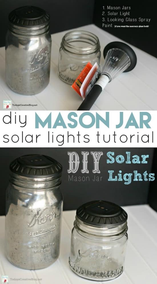 Mason Jar Solar Lights -- DIY mason jar crafts and ideas for Christmas, holidays, gifts, home decor and more! Kids and teens love these projects! Listotic.com