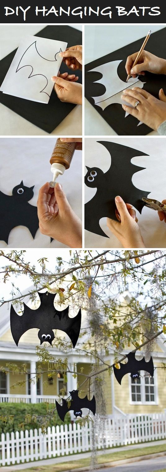16 easy but awesome homemade halloween decorations hanging bats