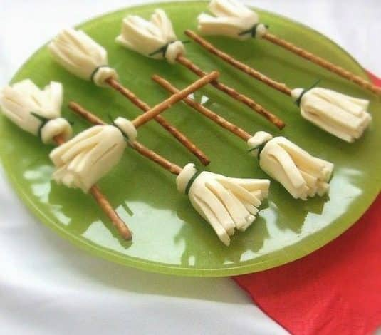 pretzel and cheese stick witches broom