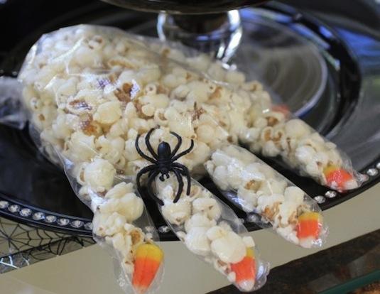 Popcorn witch's hand treat.