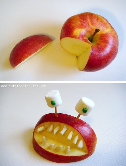 DIY apple monster treat for kids.