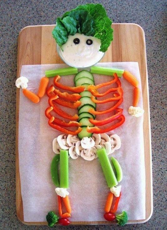 DIY skeleton veggie platter tray.