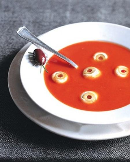 Spooky eyeball soup recipe easy healthy Halloween snacks.