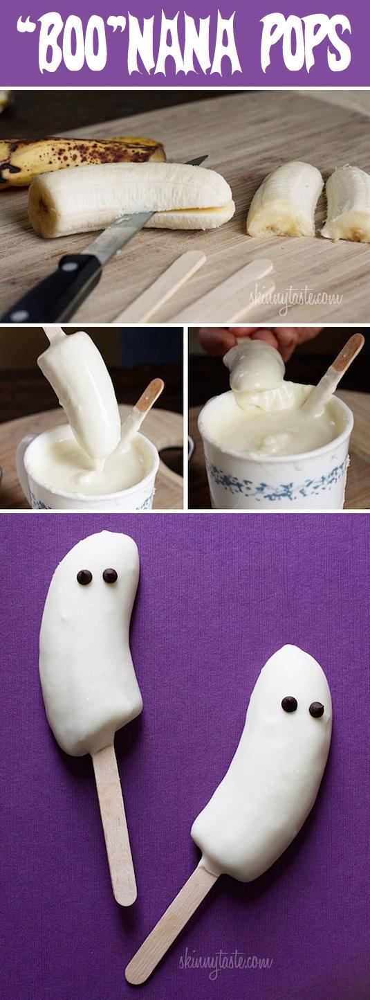 Boo-nana healthy Halloween snacks ideas.