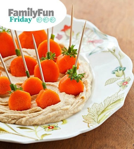 Carrot patch hummus healthy Halloween snacks ideas for a party crowd.