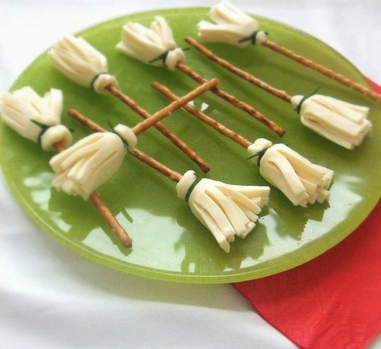Cheesy witch brooms recipe.