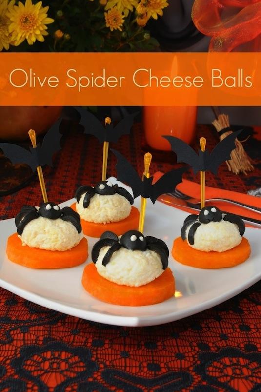 Spider cheese balls healthy Halloween snacks.