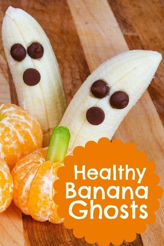 Banana ghosts healthy Halloween snacks recipes.