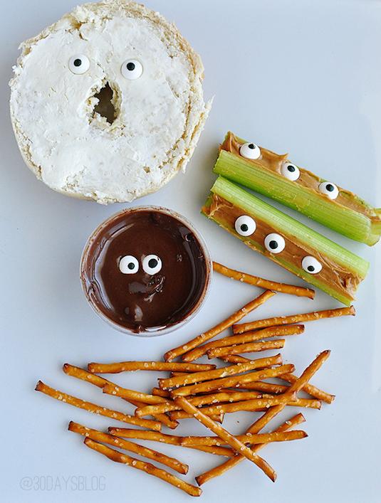 Edible eyeballs healthy Halloween snacks ideas.