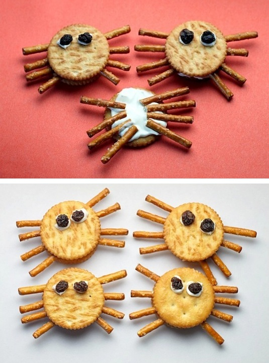 Spider cream cheese peanut butter crackers recipes for kids.