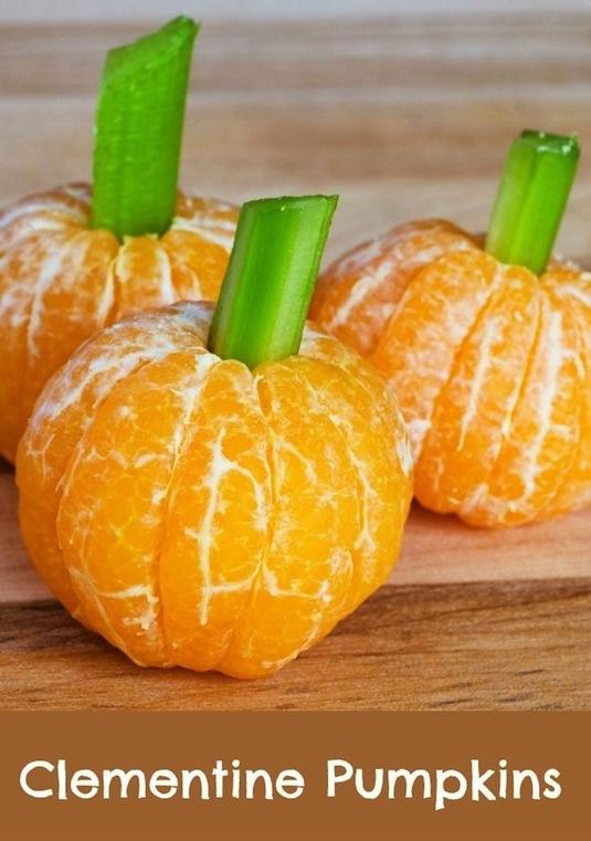 Easy clementine pumpkins healthy Halloween snacks for kids.