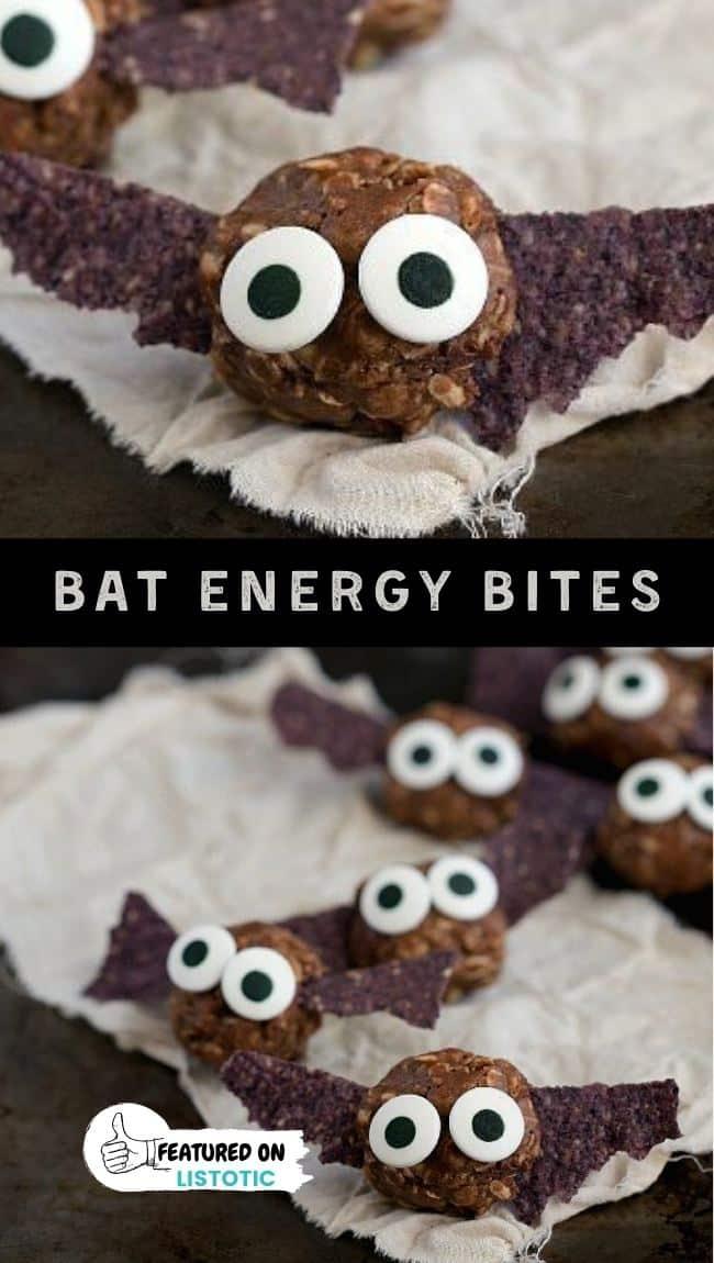 bat shaped chocolate energy bites