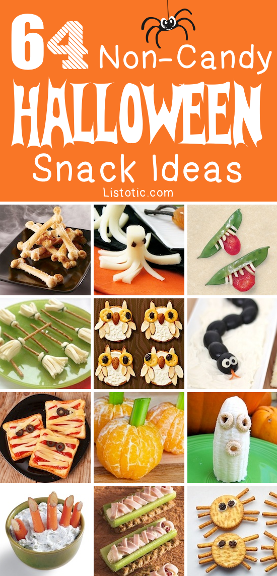 The ULTIMATE list of Halloween snacks and treats. Lots of non-candy ideas!! Listotic.com