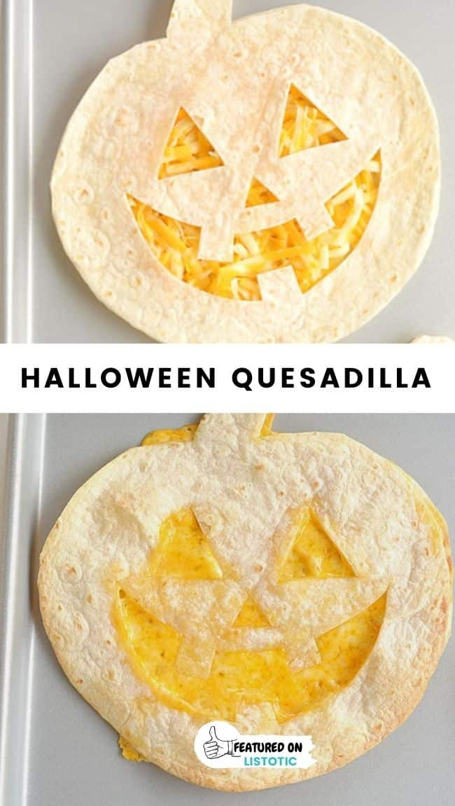jack o lantern shaped cheese quesadilla