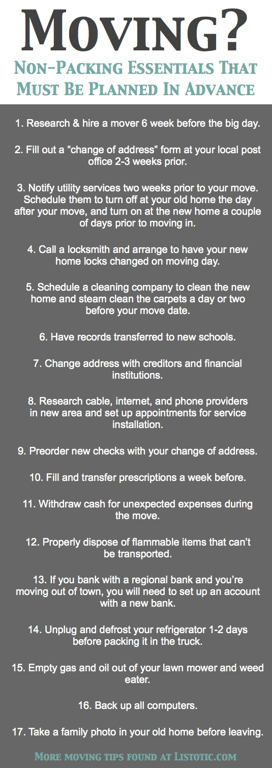 Handy moving checklist of important details not to forget. - Lots of clever moving, packing and organizing tips for houses, apartments and out of state or long distance moves! Moving into a new house? Here you will find clever moving hacks everyone should know, including a moving checklist. Listotic.com