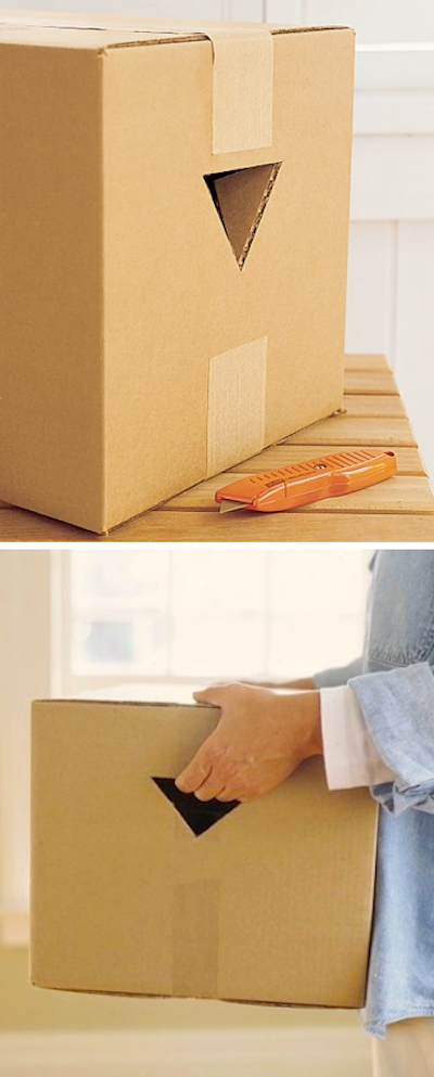 Make picking up and lifting heavy boxes a little easier by cutting handholds in two sides of the box with a utility knife! - Lots of clever moving, packing and organizing tips for houses, apartments and out of state or long distance moves! Moving into a new house? Here you will find clever moving hacks everyone should know, including a moving checklist. Listotic.com