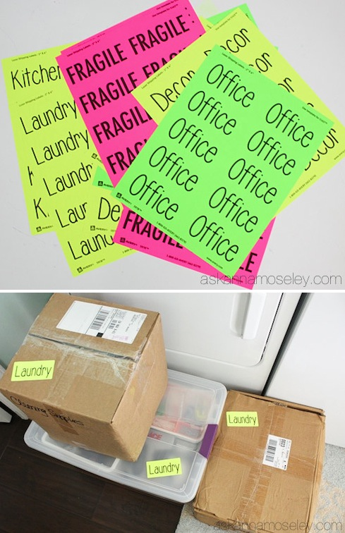 Plan ahead and print out brightly colored labels instead of writing on every box! - Lots of clever moving, packing and organizing tips for houses, apartments and out of state or long distance moves! Moving into a new house? Here you will find clever moving hacks everyone should know, including a moving checklist. Listotic.com