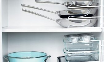 Stack pans with dividers for quick access and easy storage.