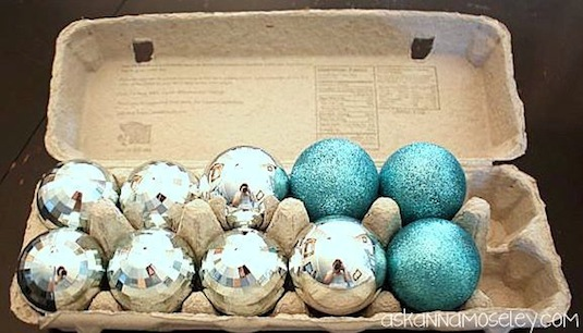 50 Genius Storage Ideas ~ Use egg cartons to store small ornaments!
