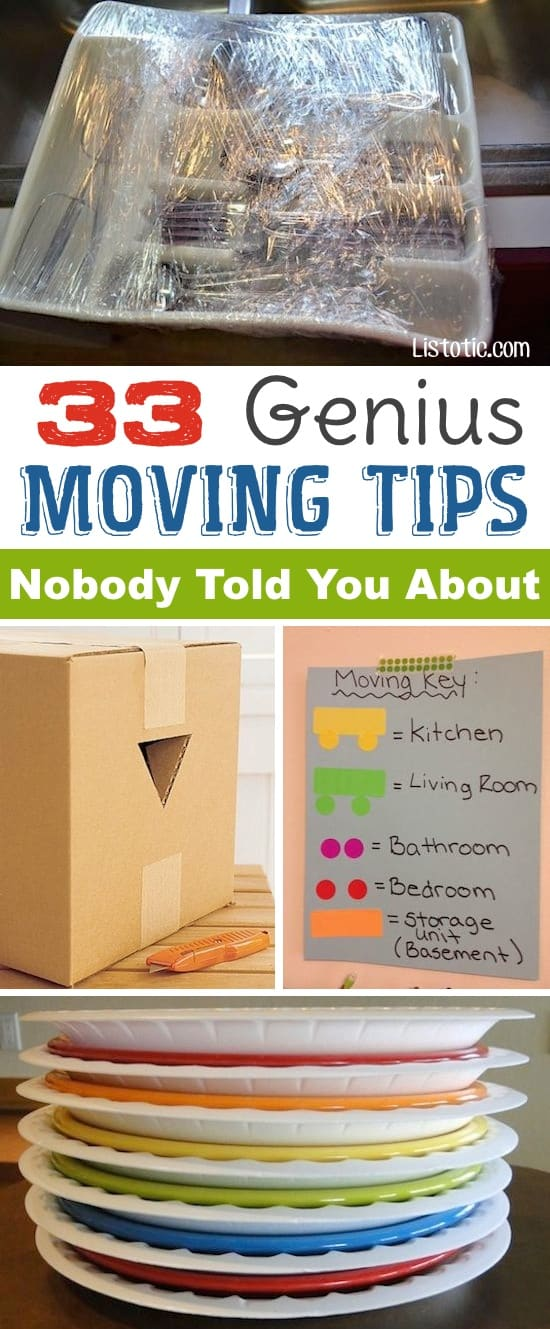 Lots of clever moving, packing and organizing tips for houses, apartments and out of state or long distance moves! Moving into a new house? Here you will find clever moving hacks everyone should know, including a moving checklist. Listotic.com