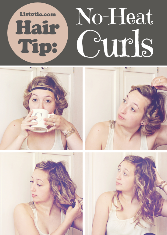 No Heat Curls Trick -- Lots of hair tips, tricks and hacks every girl should know! Everything from styling to frizz and healthy remedies. Long or short hair, thick or thin... you are sure to find some useful and simple hair ideas here! Listotic.com