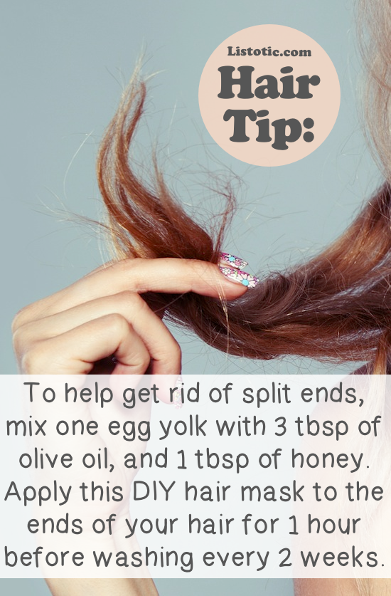 All natural remedy for split ends (DIY hair mask using egg yolk, oil and honey) -- Lots of hair tips, tricks and hacks every girl should know! Everything from styling to frizz and healthy remedies. Long or short hair, thick or thin... you are sure to find some useful and simple hair ideas here! Listotic.com