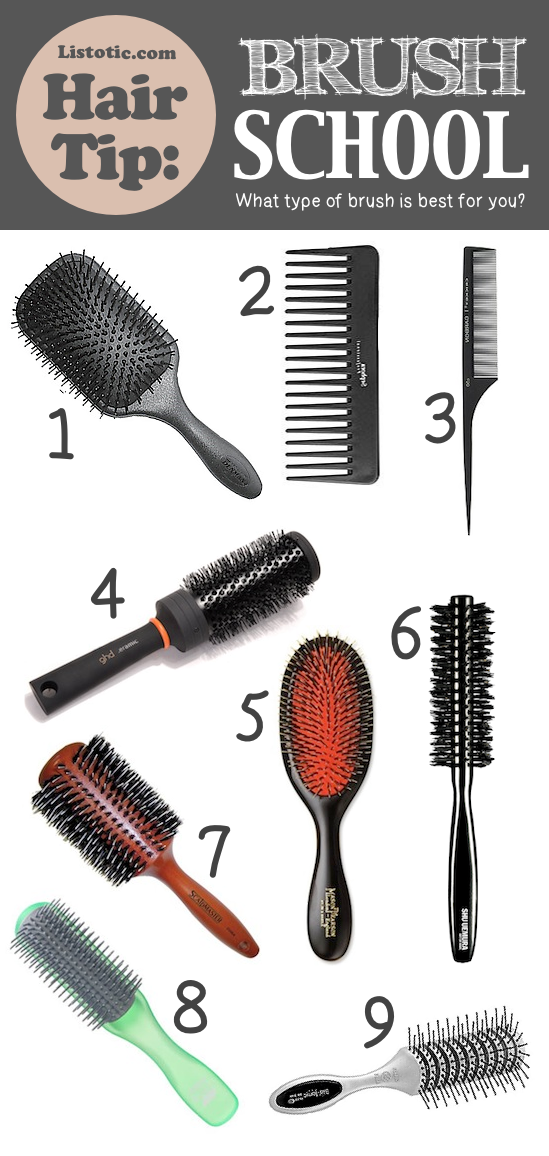 Best hair brush type for thick hair, thin hair, frizzy hair and beyond! -- Lots of hair tips, tricks and hacks every girl should know! Everything from styling to frizz and healthy remedies. Long or short hair, thick or thin... you are sure to find some useful and simple hair ideas here! Listotic.com