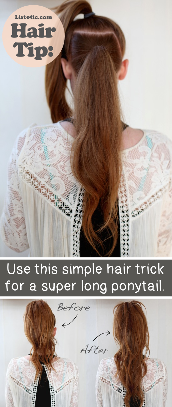 How to make your ponytail look super long! - Lots of hair tips, tricks and hacks every girl should know! Everything from styling to frizz and healthy remedies. Long or short hair, thick or thin... you are sure to find some useful and simple hair ideas here! Listotic.com