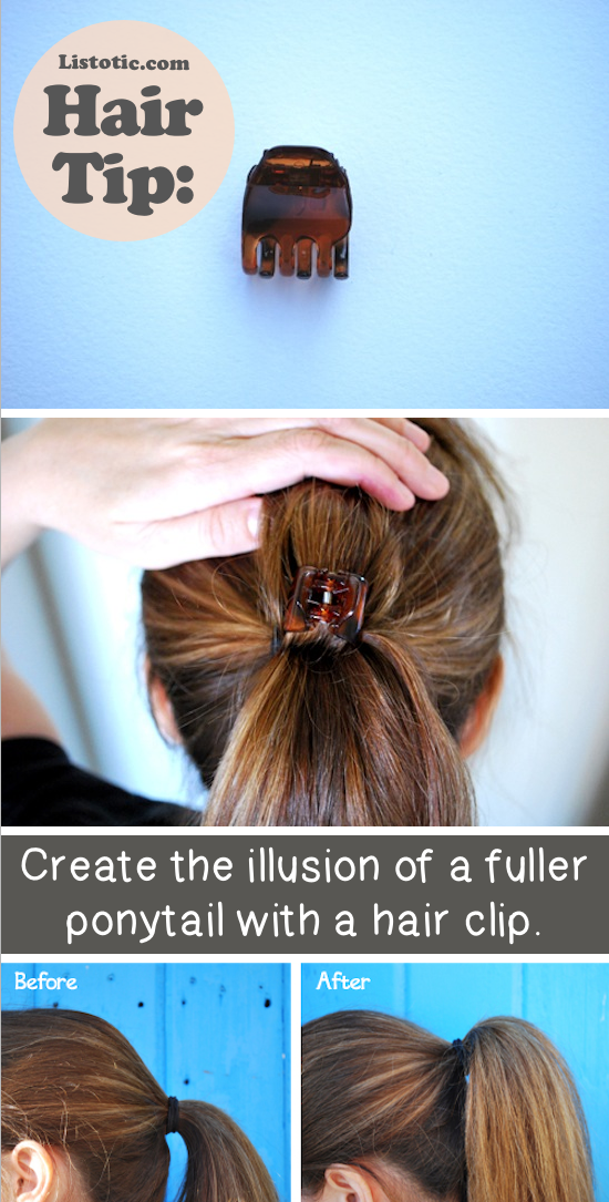 How to make your ponytail look fuller -- Lots of hair tips, tricks and hacks every girl should know! Everything from styling to frizz and healthy remedies. Long or short hair, thick or thin... you are sure to find some useful and simple hair ideas here! Listotic.com
