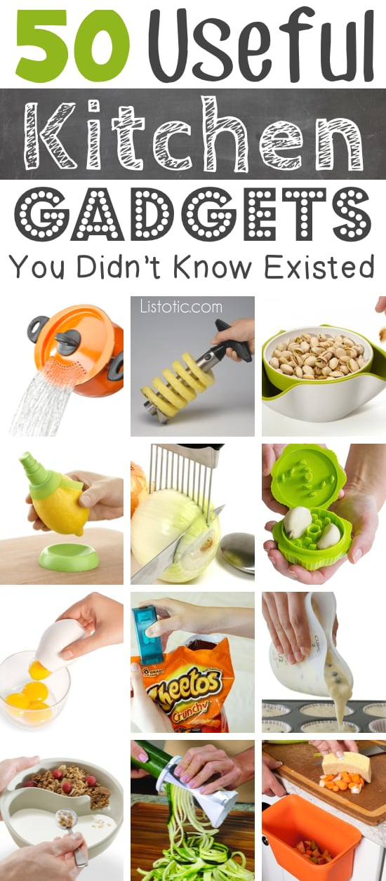 Lots of clever kitchen gadgets that you would actually use! Great gift ideas. Listotic.com