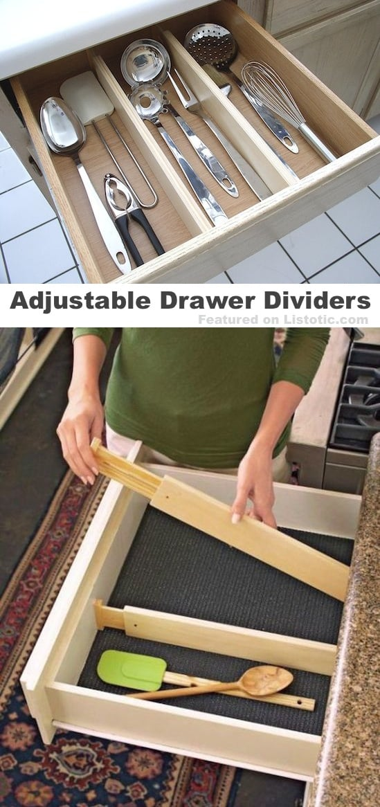 adjustable drawer dividers! A kitchen gadget everyone needs.