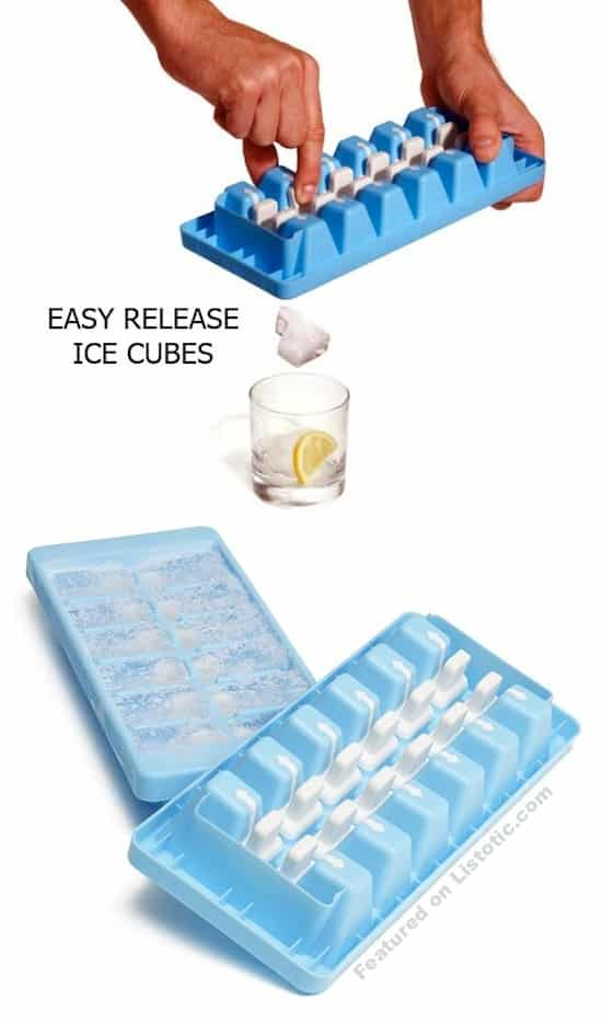 Easy release ice cube tray. Lots of cool kitchen gadgets here!