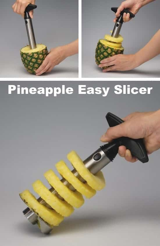 50 Awesome Kitchen Gadgets -- the easiest way to slice and core a pineapple!