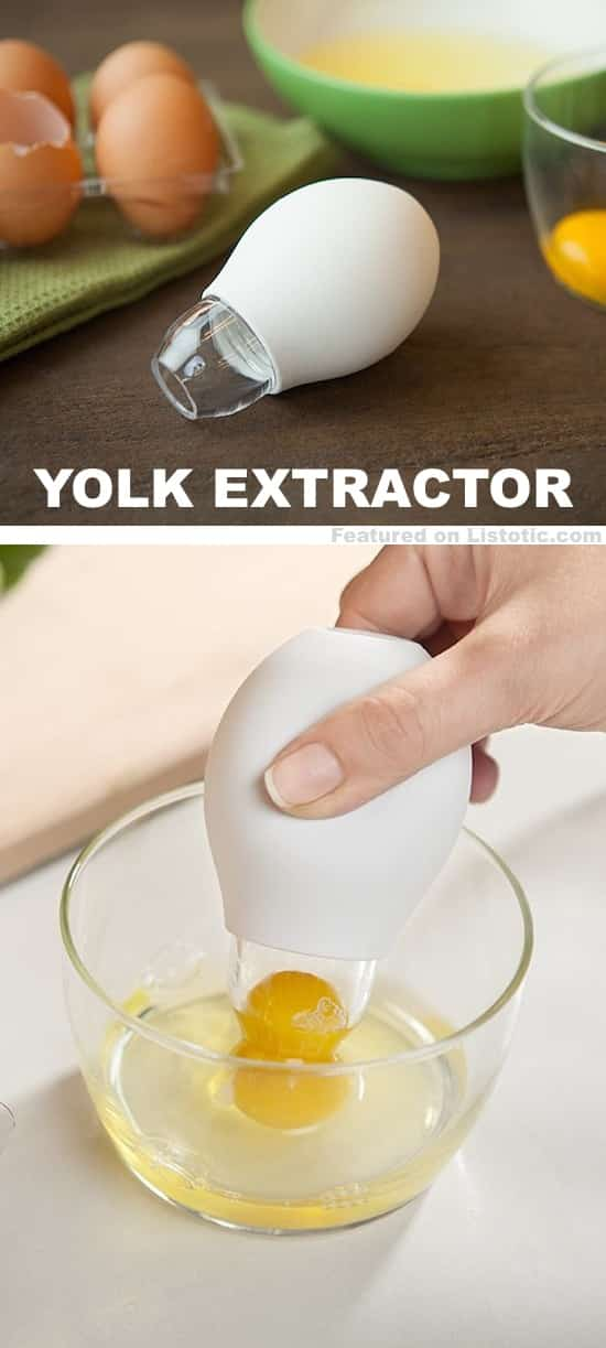 The easiest way to separate egg yolks from egg whites! Awesome kitchen gadget.