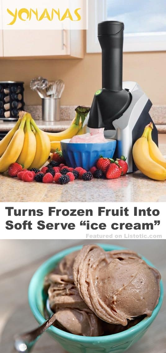 awesome kitchen gadget that turns frozen fruit into ice cream! Yonanas