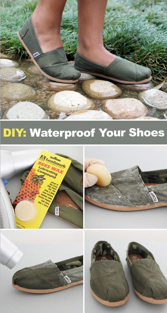 How to waterproof shoes! ~ A great list of DIY style, clothing and life hacks every girl should know! Everything from organization to bra straps! Tips for teens and women. Listotic.com