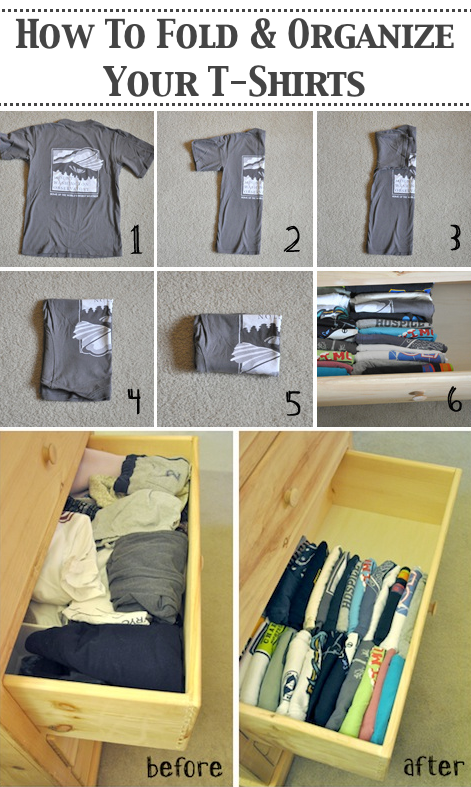 How to organize t shirts in a drawer -- A great list of DIY style, clothing and life hacks every girl should know! Everything from organization to bra straps! Tips for teens and women. Listotic.com