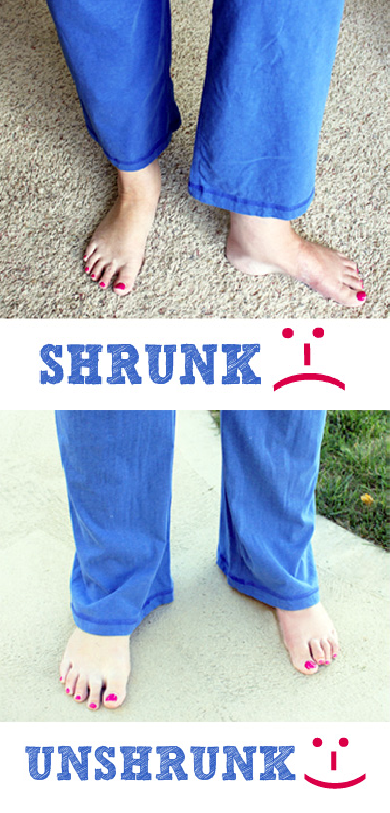 #4 How to unshrink pants! ~ A great list of DIY style, clothing and life hacks every girl should know! Everything from organization to bra straps! Tips for teens and women. Listotic.com